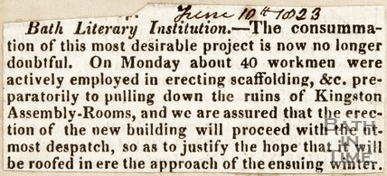Bath Literary Institution, is going to happen. June 10th 1823