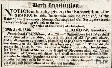 Bath Institution subscriptions for shares and where they can be received 29th April 1819