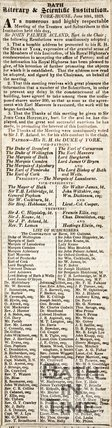 Bath Literary and Scientific Institution, York House June 10th 1823