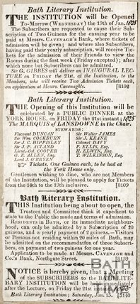 Bath Literary Institution will be opened on Wednesday the 19th January (Tomorrow) January 18th 1825