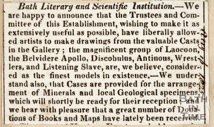 Bath Literary and Scientific Institution, update on collection and access, August 16th 1825
