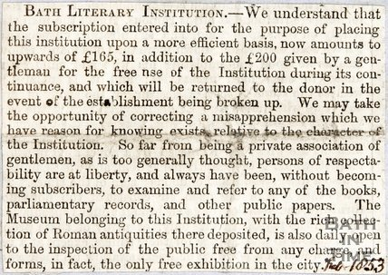 Bath Literary Institution, Ìâå£200 donation for the free use of the institution for its continuance 1853