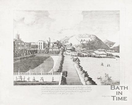 View across Parade Gardens from North Parade towards Bathwick, 1760