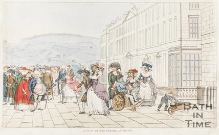 Caricature View of The Parade at Bath c.1787