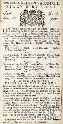 Spring Gardens Vauxhall, Kings Birthday June 2nd 1788