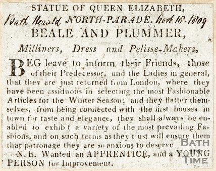 Statue of Queen Elizabeth, North Parade, Beale & Plummer, November 18th 1809