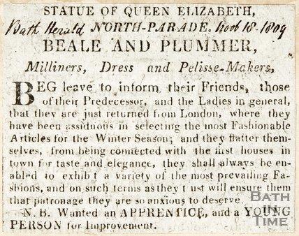 Statue of Queen Elizabeth, North Parade, Beale & Plummer, November 18th 1809