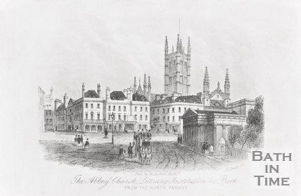 The Abbey Church, Literary Institution &c. Bath, From the North Parade 1855