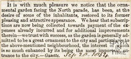 Restoration of Ornamental Garden facing North Parade September 28th 1834