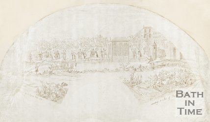 Fan Engraving showing Beau Nash and the Company on Harrison's Walk. June 1737