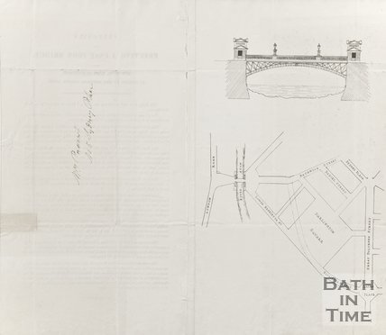 Map and sketch to show where Cast Iron Bridge over the River Avon at Bathwick will be placed