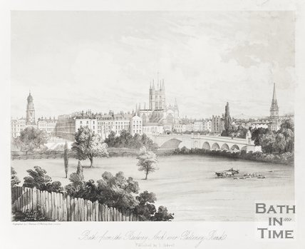 Bath from the Railway Arch over Pulteney Road 1850
