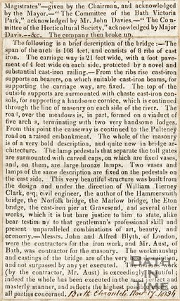 North Parade Bridge, Reflection on opening and events that happened, November 17th 1836