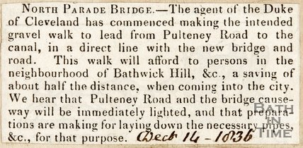 North Parade Bridge Road construction, December 14th 1836