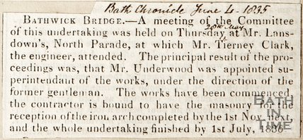 Bathwick Bridge Meeting Held on Thursday 20th May, at Mr Lansdowne's in North Parade, Mr Tierney Clarke attended. June 4th 1835