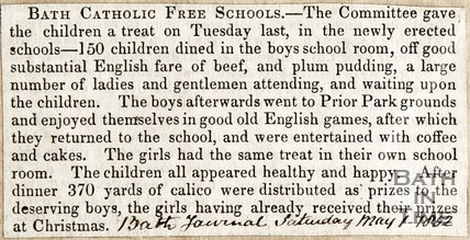 Bath Catholic Free Schools, 150 children treated dined in the boys schoolroom, Saturday May 1st 1852