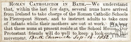 Roman Catholicism in Bath, , September 16th 1852