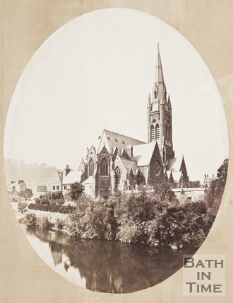 Photograph of St. John the Evangelist from the River Avon, c.1870