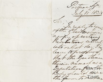 Letter to Postmaster Charles Geary Esq. from Manvers, Portman Square, July 11th 1834