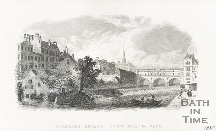 Pulteney Bridge, Town Mill, Bath 1838