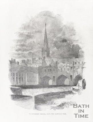 Pulteney Bridge from Bathwick Weir, 1849