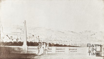 Photograph of copy of sketch View from North Parade with balustrade and sedan chair c.1747