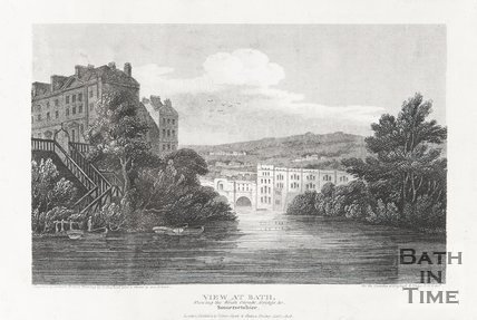 View at Bath, Showing the South Parade, Pulteney Bridge, Somersetshire, January 1st 1808
