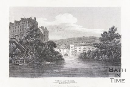 View at Bath, Showing the South Parade Ferry and Pulteney Bridge, Bath 1813