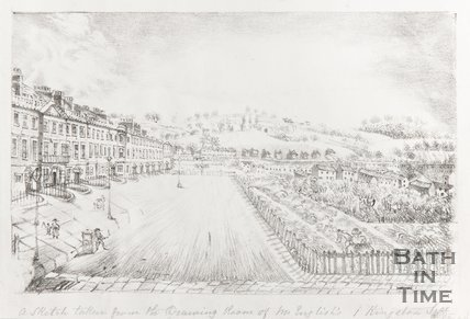 Sketch taken from the drawing room of Mr English's, 1 Kingston Street, (Pierrepont Street) pre-1861