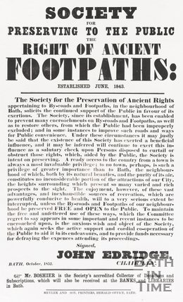 Poster Society For Preserving to the Public the Right of Ancient Footpaths, Established June 1843