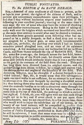 Public Footpaths, Letter to Editor of Bath Herald from Perambulator May 24th 1851