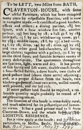 To Be let to Miles from Bath, Claverton House May 27th 1799
