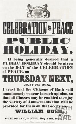 Poster Celebration of Peace, announcing Public Holiday on Thursday May 29th 1856