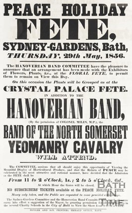 Poster Peace Holiday Fete, Sydney Gardens, Bath 29th May 1856