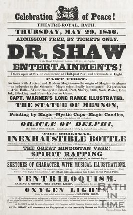 Poster Celebration of Peace, Theatre Royal Bath, Thursday May 29th 1856