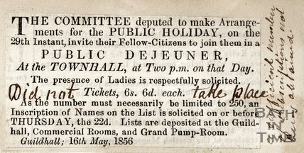 Invitation to Public Breakfast, Guildhall, May 16th 1856