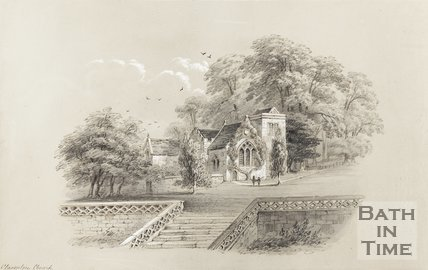 Pencil and pastel sketch of Claverton Church