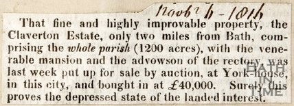 Auction of Claverton Manor and Estate, November 1st 1816