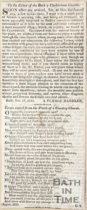 Letter to the Editor from a Female Rambler November 17th 1815