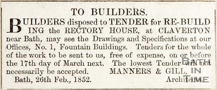 Advertisement to Builders for rebuilding Rectory House at Claverton, from Manners & Gill architects 26th February 1852