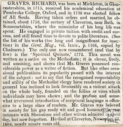 Obituary of Revd. Richard Graves, died November 23 1804