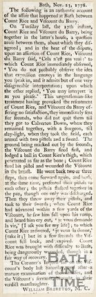 Authentic account of the affair that happened at Bath, between Count Rice and Viscount Du Barry, November 23rd 1778