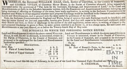 Revd. William Hale, Rector of Claverton and George Vivien of the Claverton Manor House, February 8th 1855