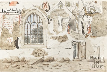 Watercolour Sketch Claverton Church Medieval wall paintings, Discovered 1858