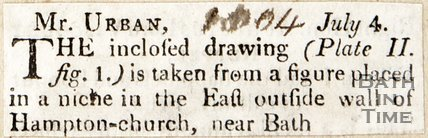 Note concerning a figure placed in a niche in the East outside wall of Bathampton church near Bath, July 4th 1804