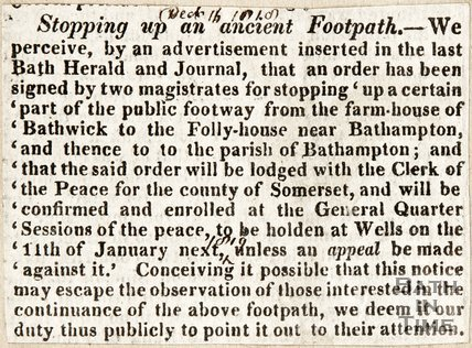 Stopping up an Ancient Footpath, December 16th 1819