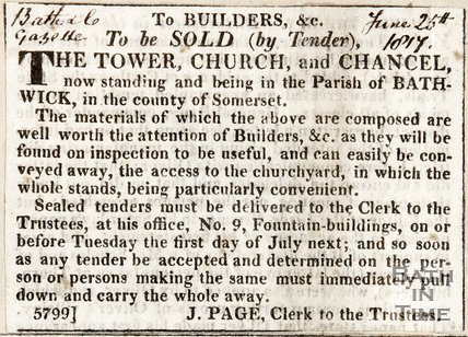 To builders, to be sold (by tender), the tower, church and chancel of Bathwick. June 26th 1817