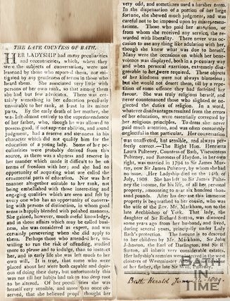 Obituary of the Late Countess of Bath June 24th 1809