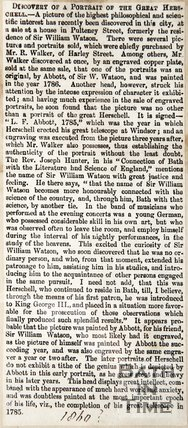 Discovery of a Portrait of the Great William Herschel 1860