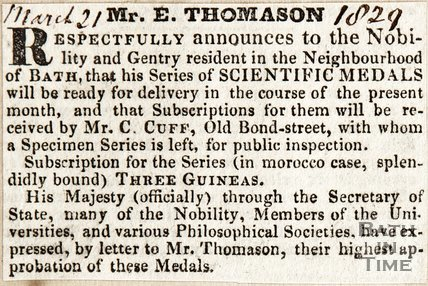 Mr E. Thomason, announcing his series of Scientific Medals will be available for delivery in the course of a month. March 21st 1829